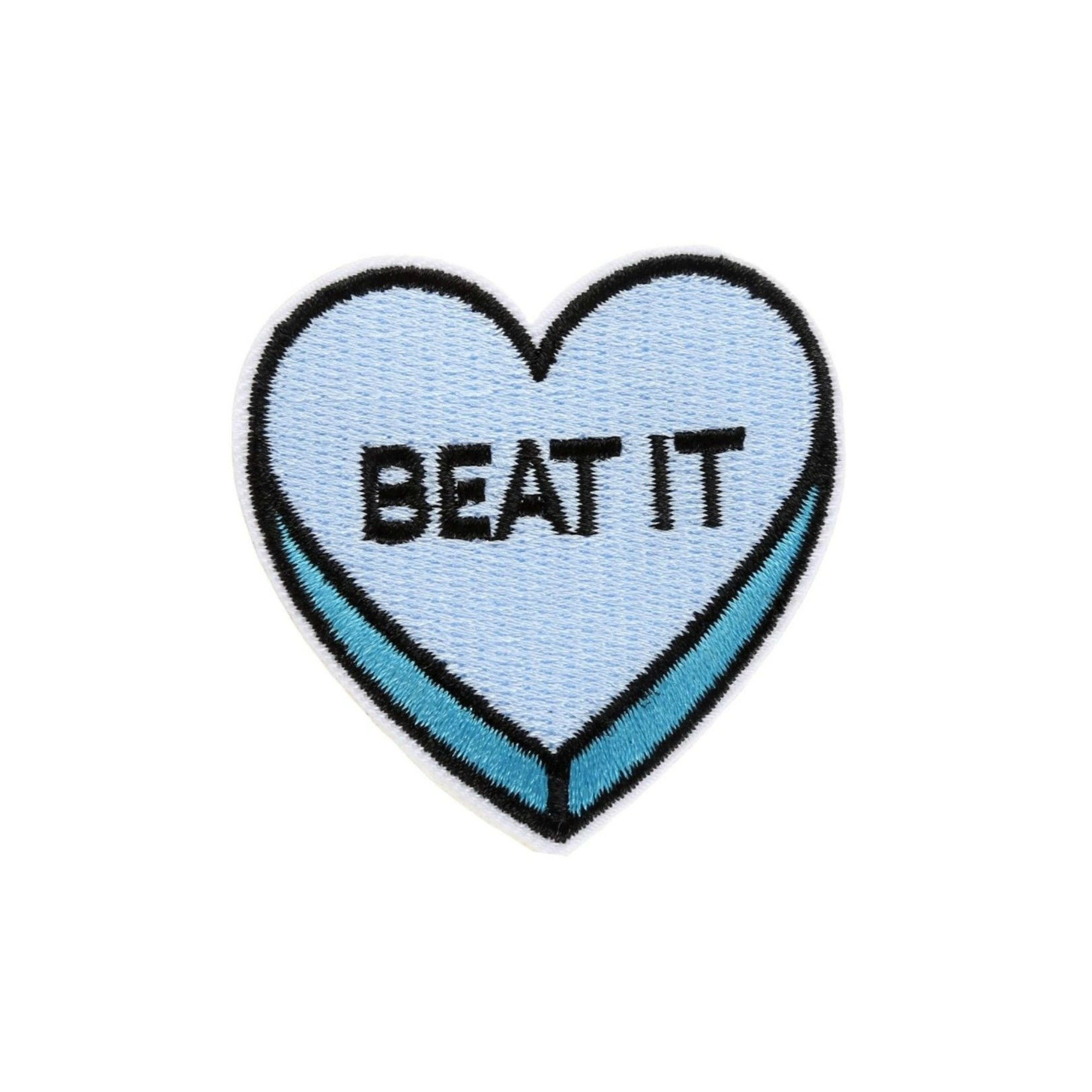 Beat It Love Heart Iron On Patch - Minimum Mouse