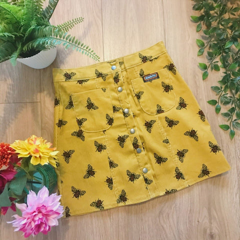 Bee Print Button Front Skirt by Run and Fly - Minimum Mouse