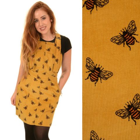 Bee Print Corduroy Dungaree Pinafore Dress by Run and Fly in Gold - Minimum Mouse