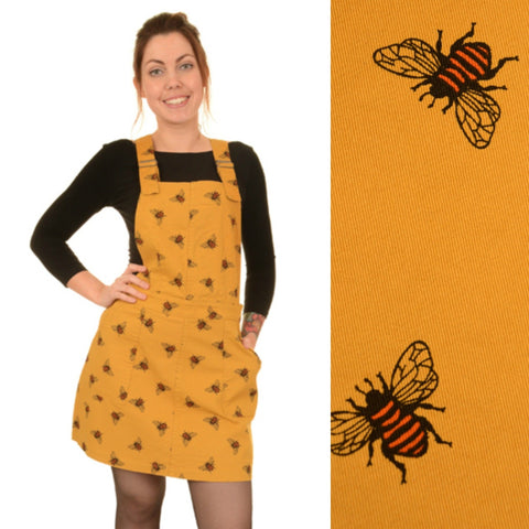 Bee Print Cotton Twill Dungaree Pinafore Dress by Run and Fly in Gold - Minimum Mouse