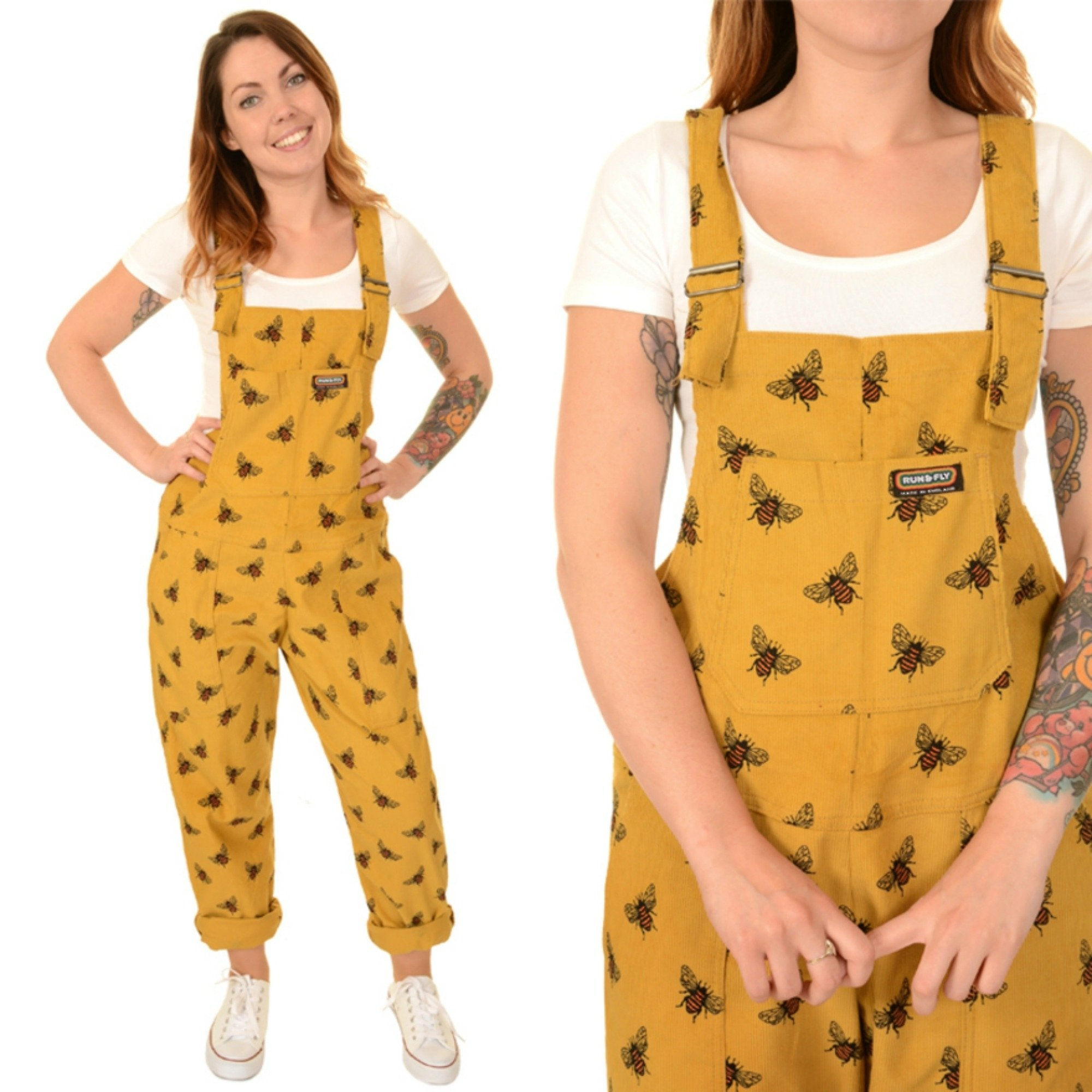 Bee Print Dungarees in Corduroy by Run and Fly - Minimum Mouse