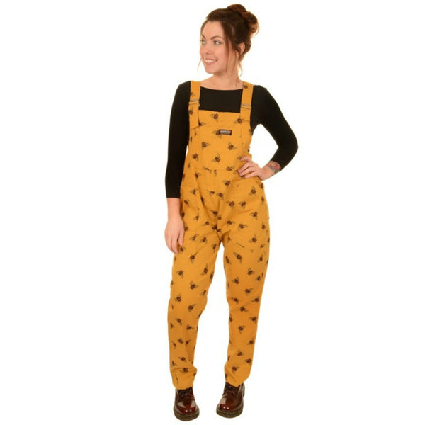 Bee Print Dungarees in Twill Cotton by Run and Fly - Minimum Mouse
