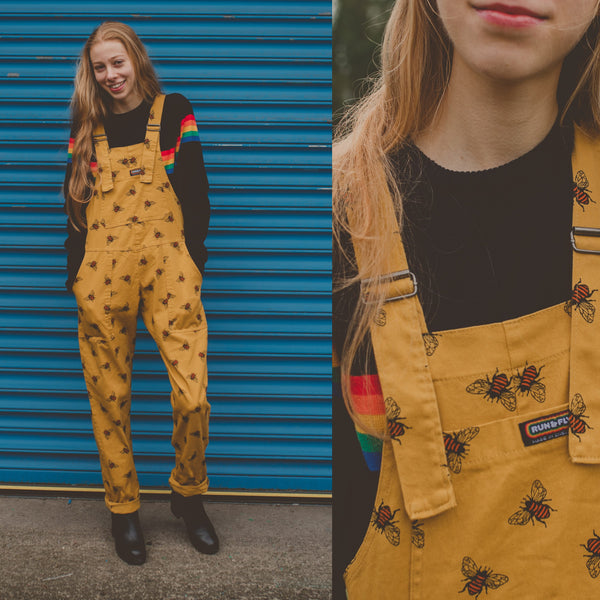 Bee Print Dungarees in Twill Cotton by Run and Fly