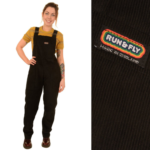 Black Corduroy Dungarees by Run and Fly - Minimum Mouse