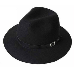 Black Faux Leather Band Fedora Hat - Minimum Mouse