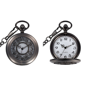 Black Filigree Quartz Pocket Watch - Minimum Mouse