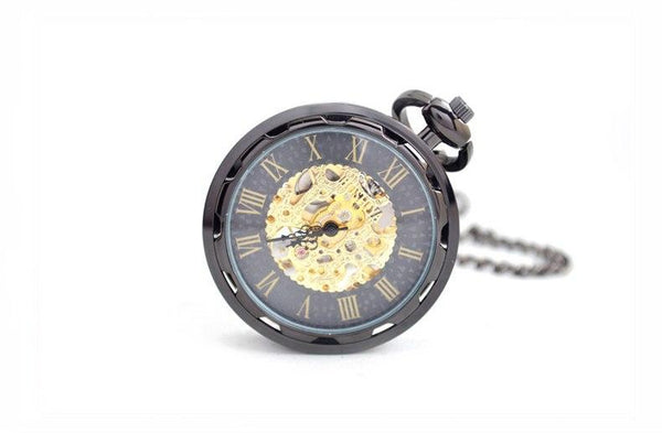 Black Gear Cog Mechanical Hand Wind Pocket Watch - Minimum Mouse