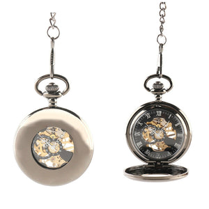 Black Half Hunter Mechanical Hand Wind Pocket Watch - Minimum Mouse
