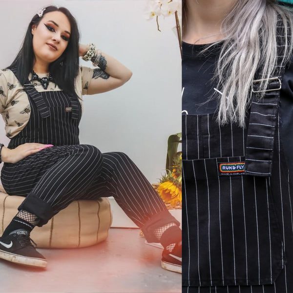 Black Pinstripe Dungarees by Run and Fly - Minimum Mouse