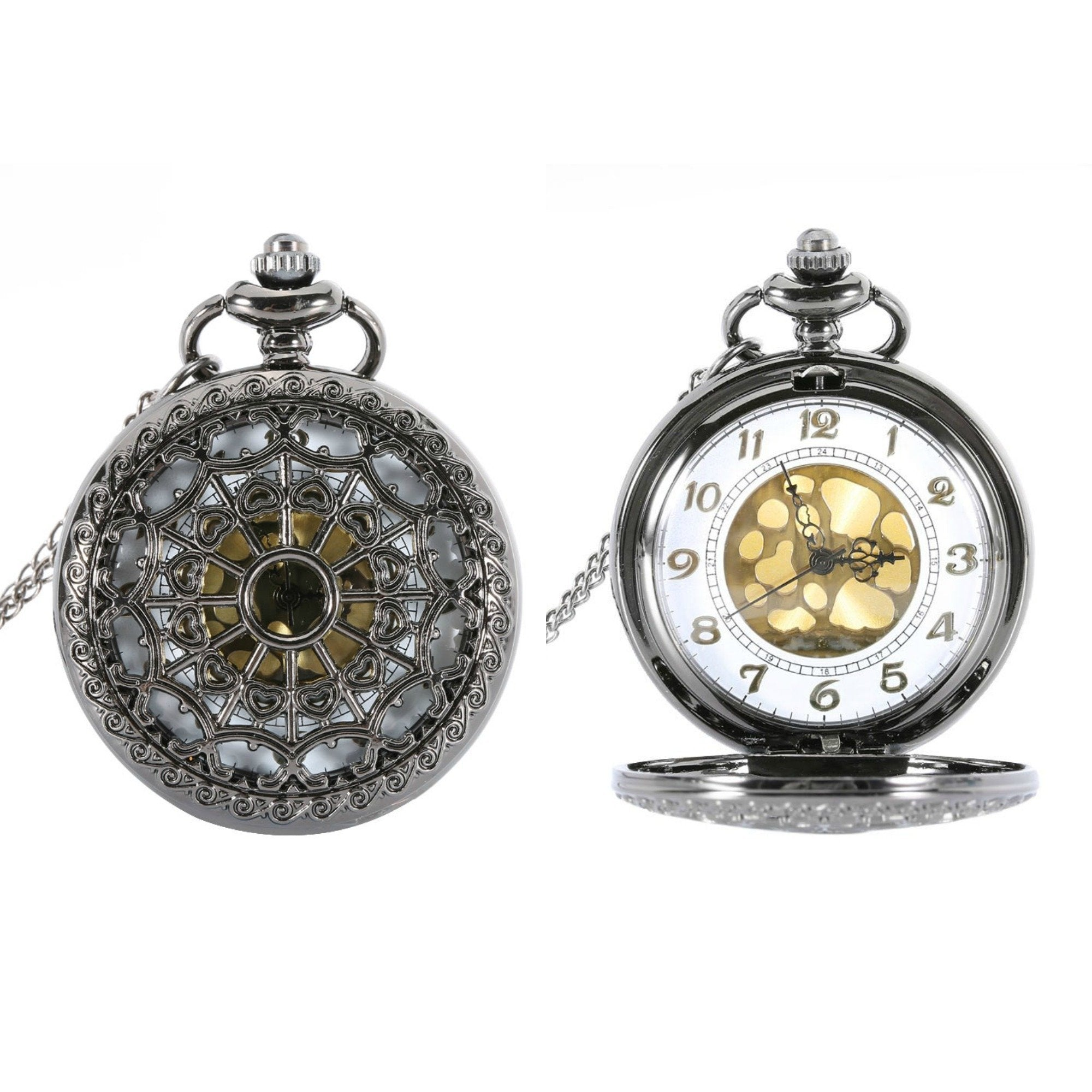 Black Spiderweb Quartz Pocket Watch - Minimum Mouse