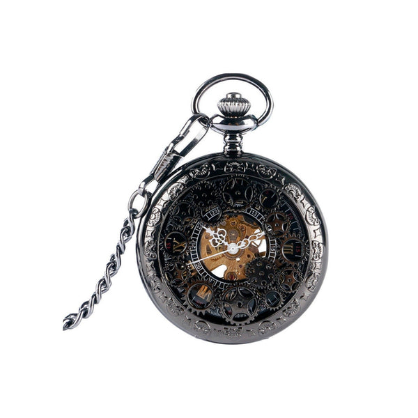 Black Steampunk Cogs Mechanical Hand Wind Pocket Watch - Minimum Mouse