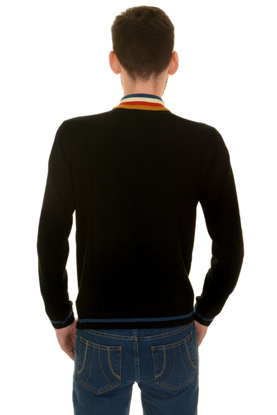 Black Zip Neck Stripe Jumper by Run and Fly - Minimum Mouse