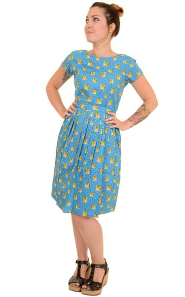 Blue Cat Print Dress by Run and Fly - Minimum Mouse