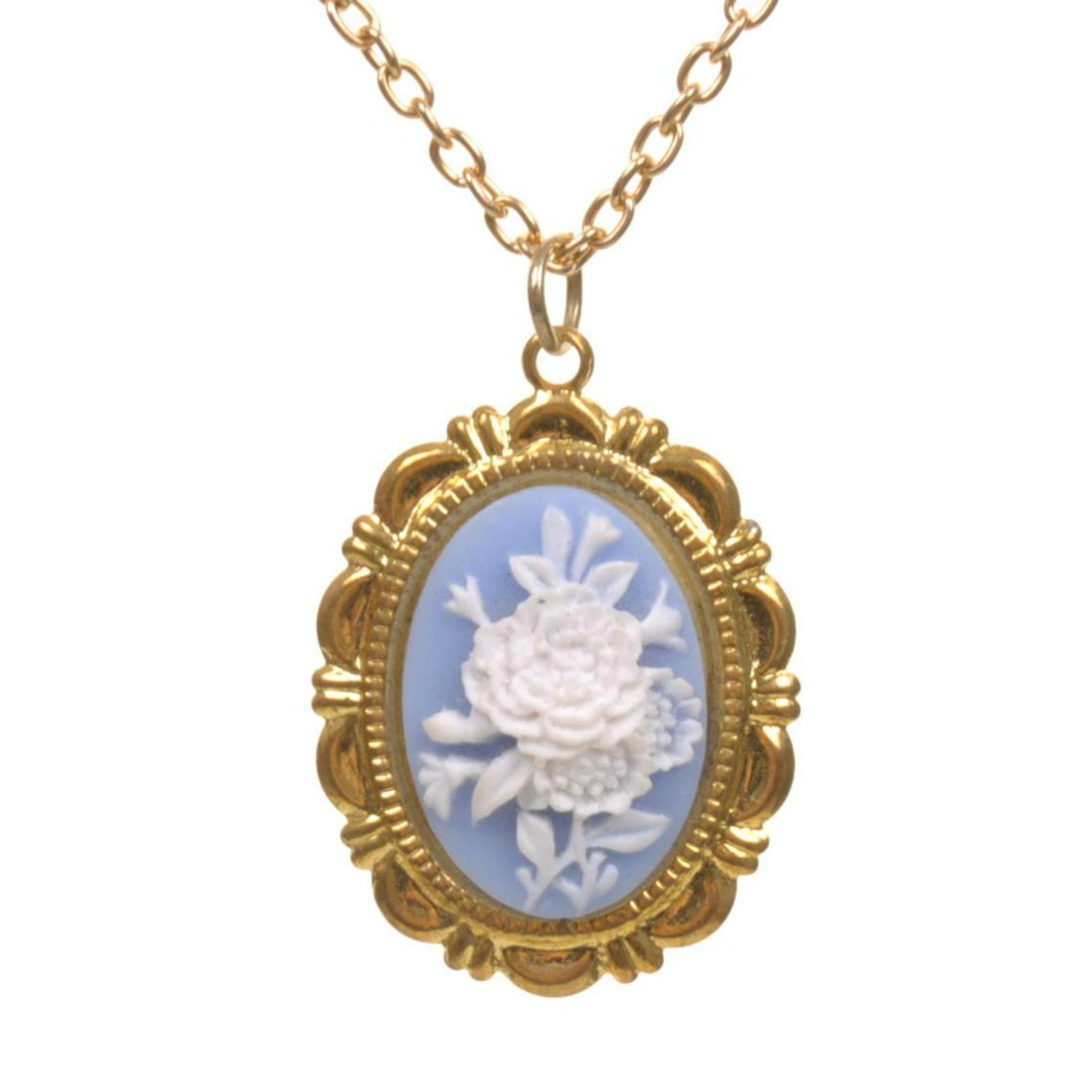 Blue Floral Cameo Necklace - Minimum Mouse