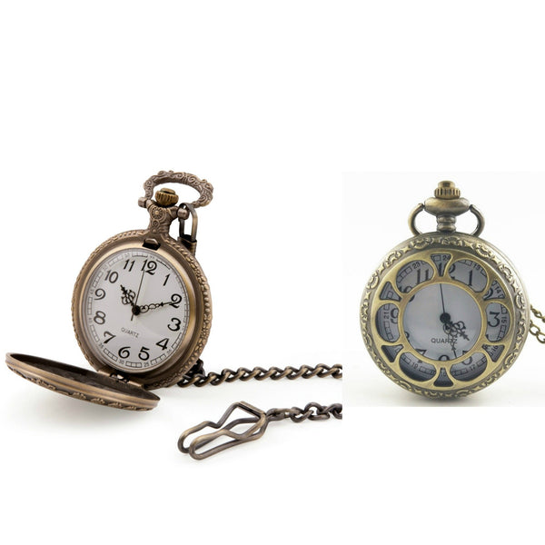 Bronze Cut Out Quartz Pocket Watch - Minimum Mouse