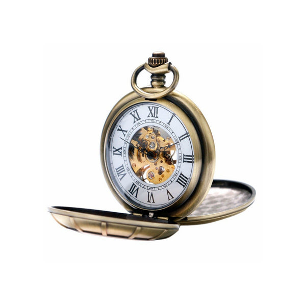 Bronze Double Opening Mechanical Hand Wind Pocket Watch - Minimum Mouse