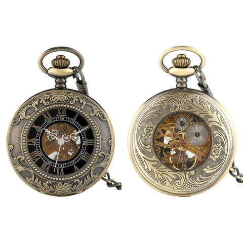 Bronze Floral Detail Mechanical Hand Wind Pocket Watch - Minimum Mouse