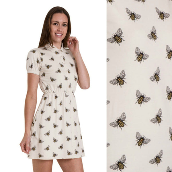 Bumble Bee Jersey Dress in Stone by Run and Fly - Minimum Mouse