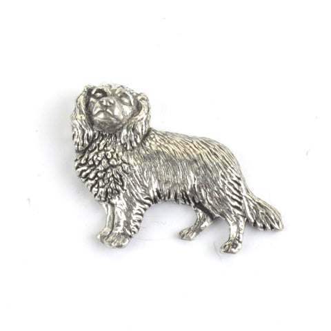 Cavalier King Charles Spaniel Pewter Dog Lapel Pin Badge - Minimum Mouse