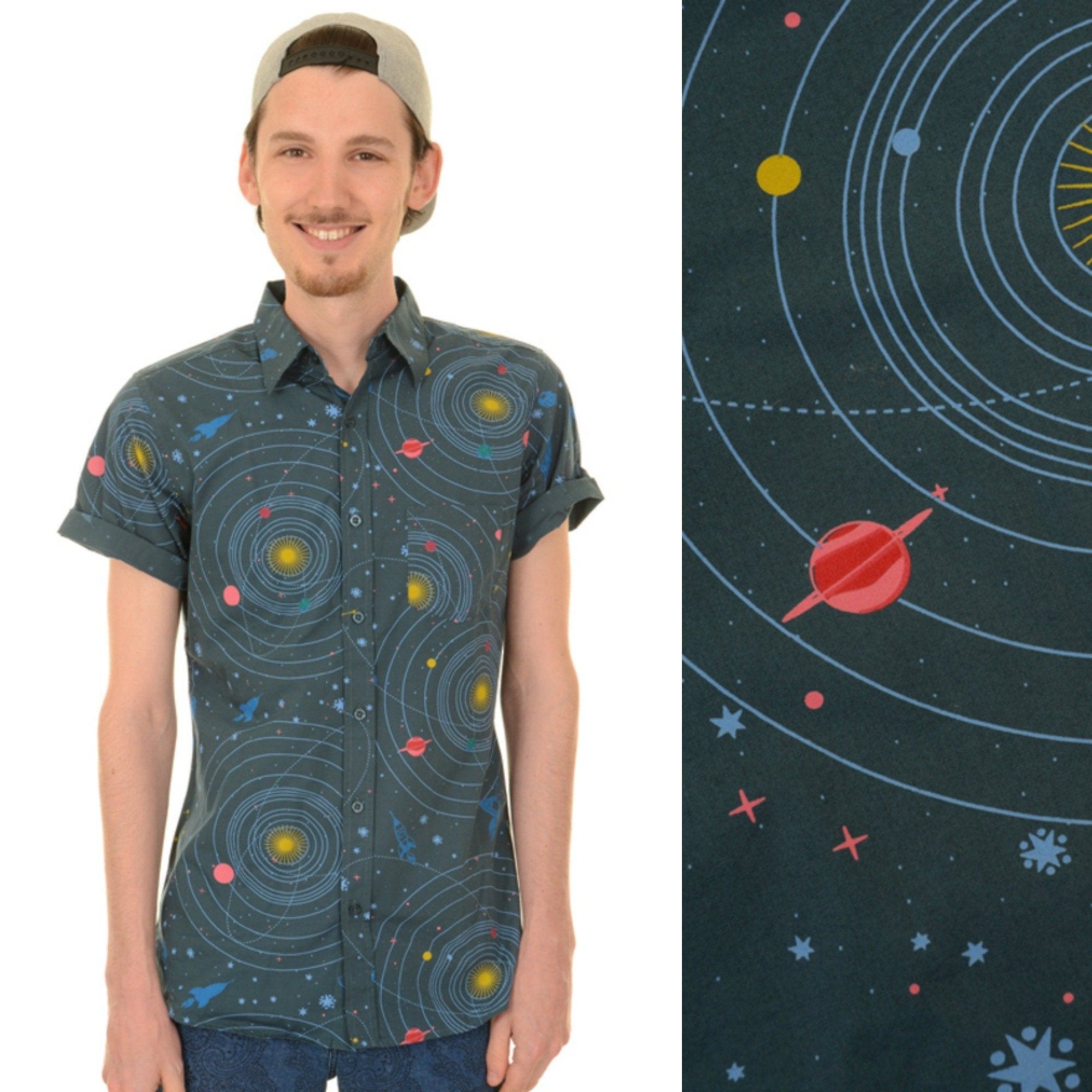 Celestial Solar System Space Print Shirt by Run and Fly - Minimum Mouse