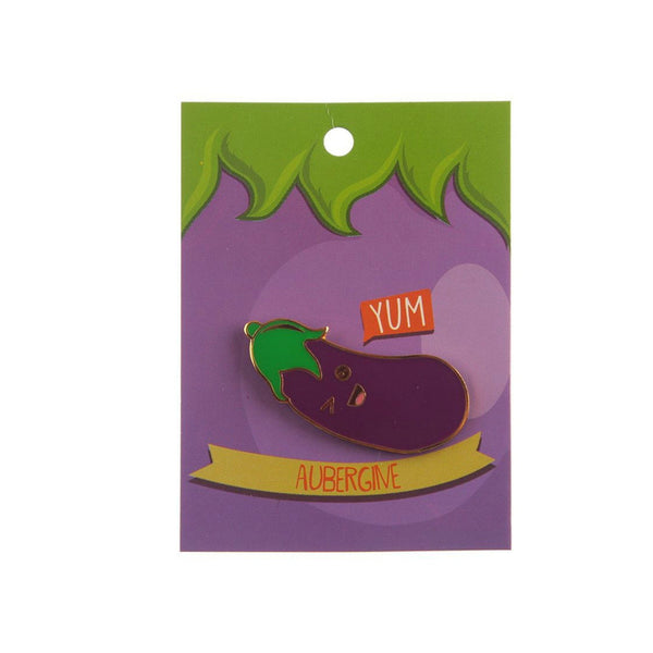 Cheeky Aubergine Eggplant Lapel Pin Badge - Minimum Mouse