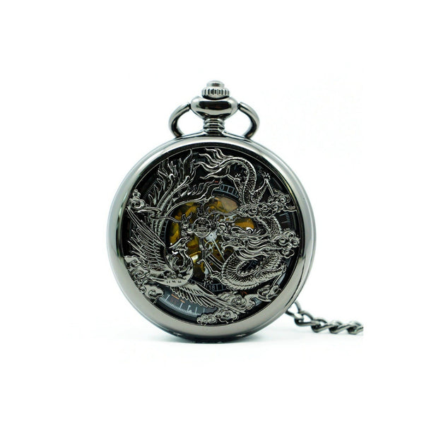 Chinese Dragon Black Mechanical Hand Wind Pocket Watch - Minimum Mouse