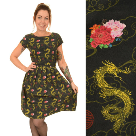 Chinese Dragon Print Dress by Run and Fly - Minimum Mouse