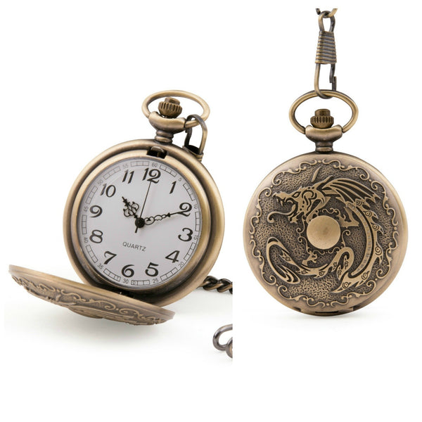 Chinese Dragon Quartz Pocket Watch - Minimum Mouse
