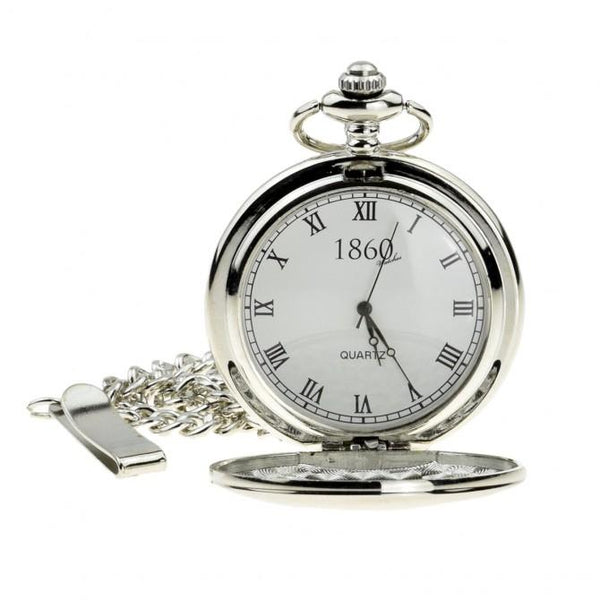 Classic Silver Quartz Pocket Watch - Minimum Mouse