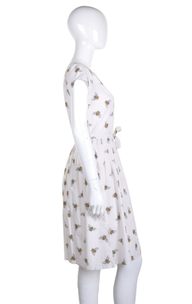 Cream Bee Print Dress by Run and Fly - Minimum Mouse