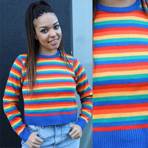 Cropped Rainbow Bright Stripe Jumper by Run and Fly - Minimum Mouse
