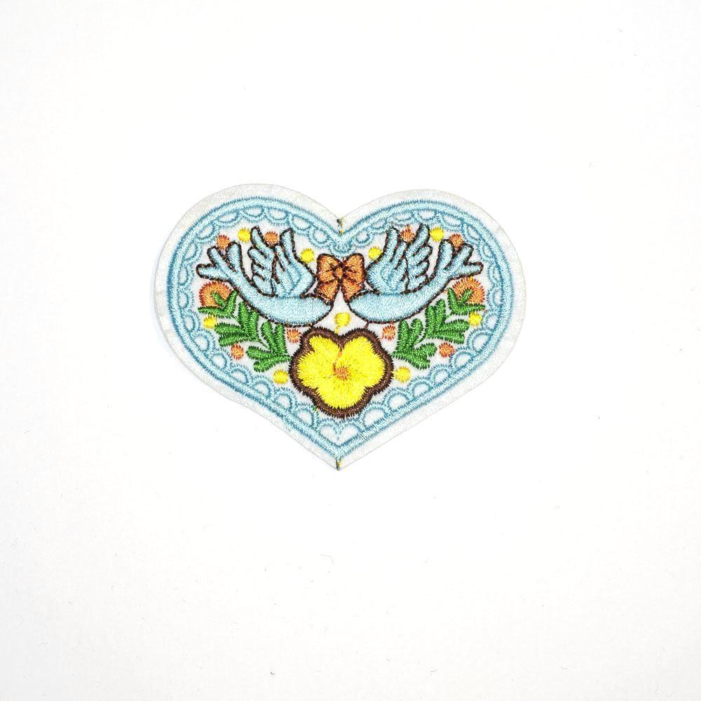 Cute Bluebird Heart Iron On Patch - Minimum Mouse