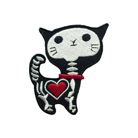 Cute Cat X-Ray Skeleton Iron On Patch - Minimum Mouse