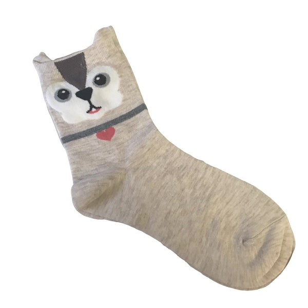 Cute Cream Dog Socks - Minimum Mouse