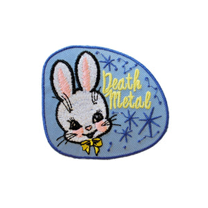 Death Metal Funny Cute Bunny Iron On Patch - Minimum Mouse