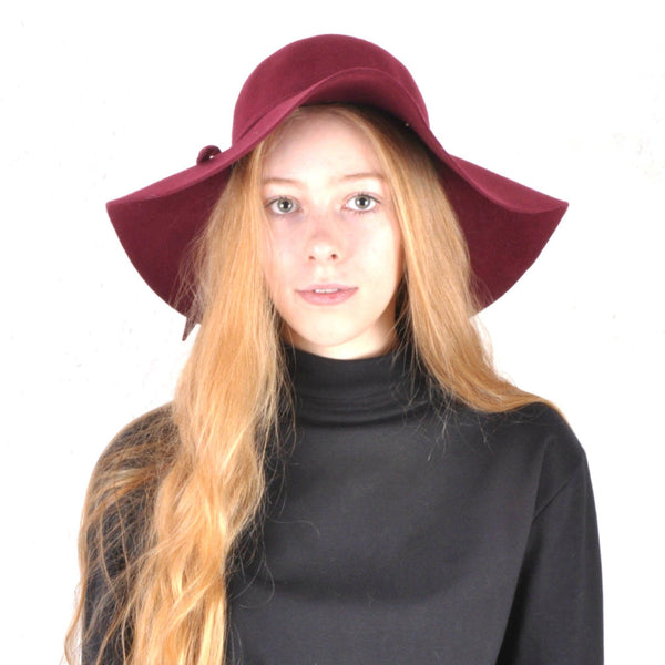 Deep Red Floppy Wide Brimmed Hat - Minimum Mouse
