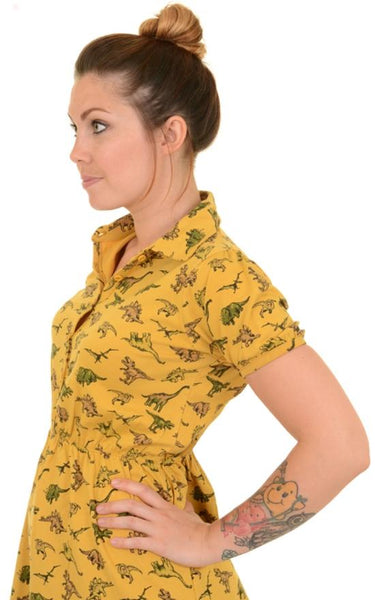 Dinosaur Jersey Dress by Run and Fly in Honey Gold - Minimum Mouse