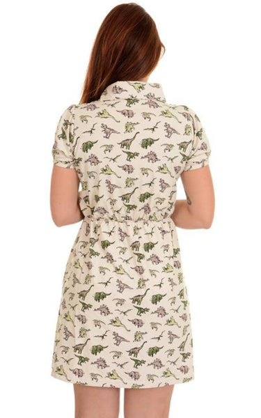 Dinosaur Jersey Dress by Run and Fly in Stone - Minimum Mouse