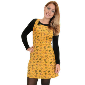 Dinosaur Print Cord Dungaree Pinafore Dress by Run and Fly in Honey Gold - Minimum Mouse