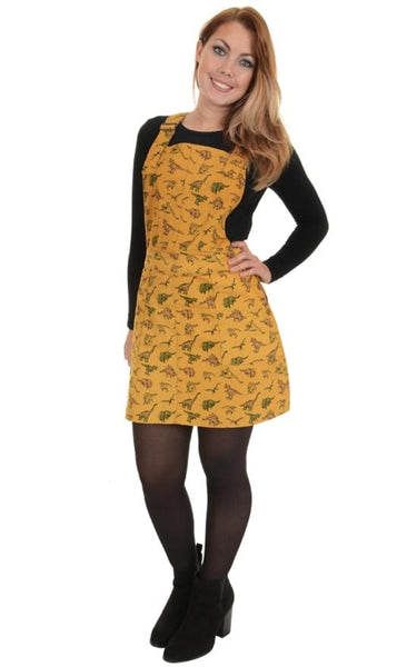 Dinosaur Print Cotton Dungaree Pinafore Dress by Run and Fly in Honey Gold - Minimum Mouse