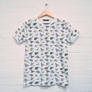 Dinosaur Print T Shirt by Run and Fly in White - Minimum Mouse