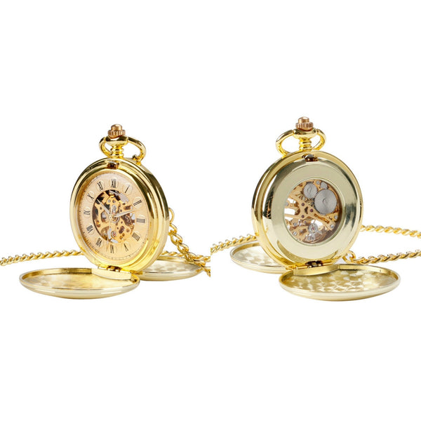 Double Opening Gold Mechanical Hand Wind Pocket Watch - Minimum Mouse