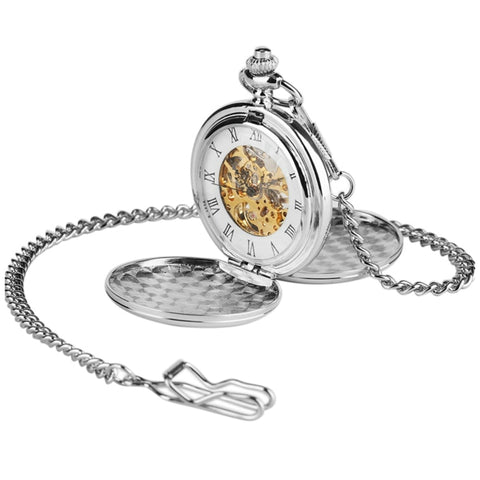 Double Opening Silver Mechanical Hand Wind Pocket Watch - Minimum Mouse