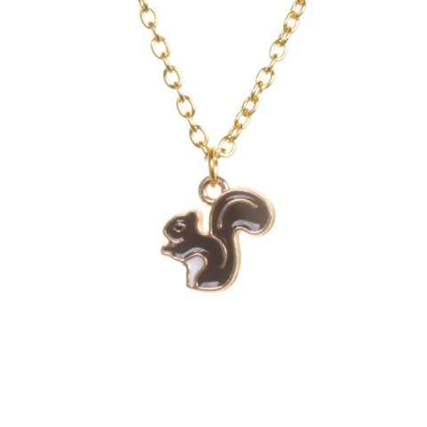 Enamel Squirrel Pendant Necklace - Minimum Mouse
