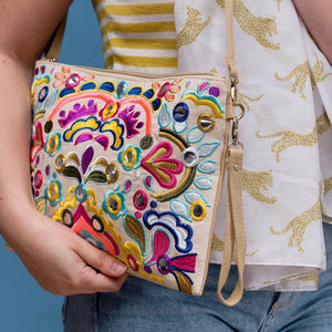 Fiesta Embroidered Sequin Shoulder Bag - Minimum Mouse