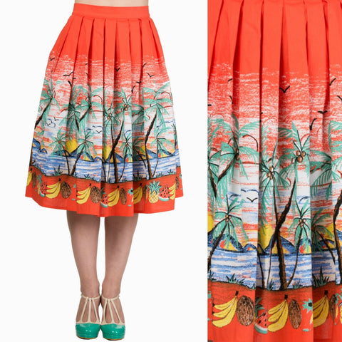 Fifties Style Tropical Skirt by Banned Apparel - Minimum Mouse