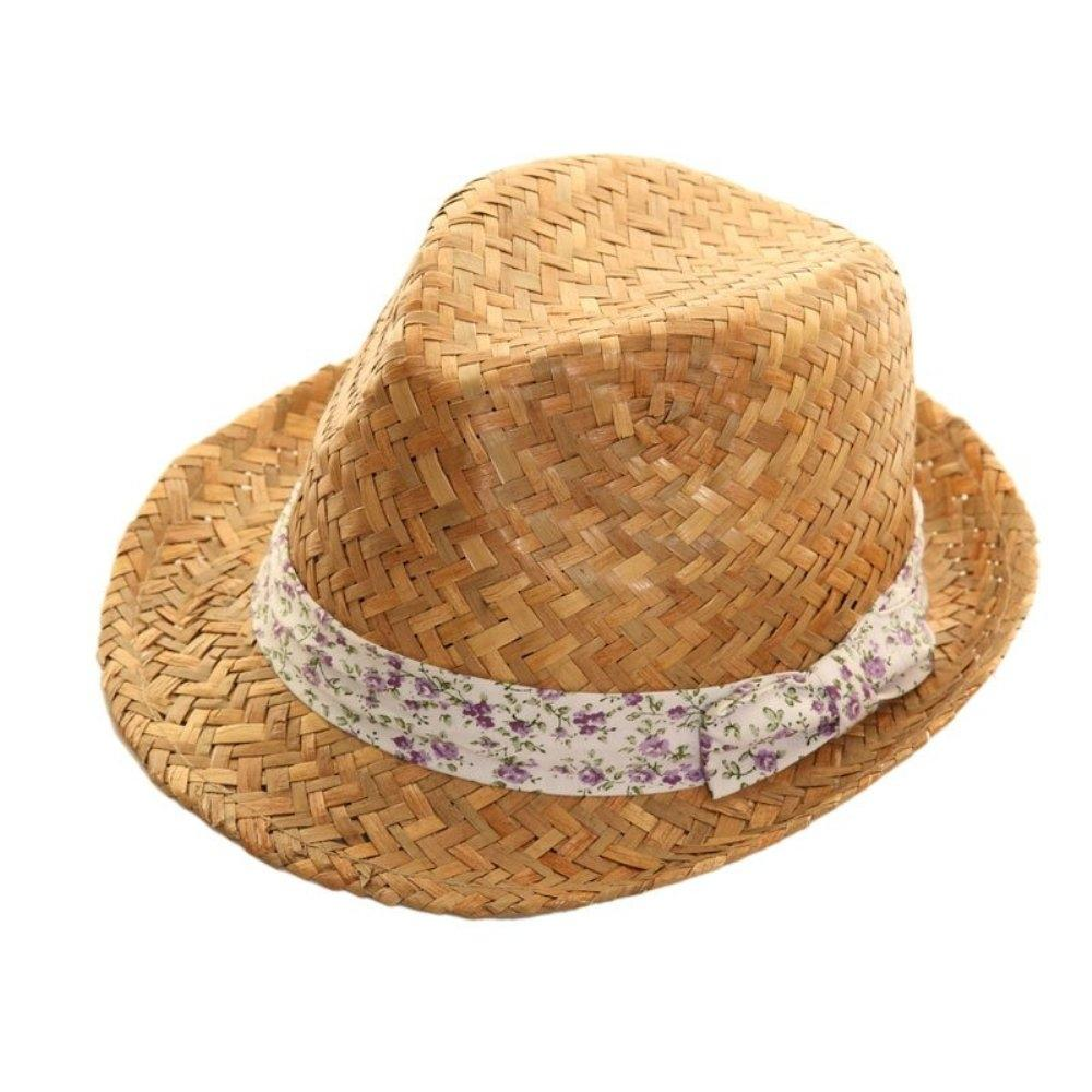 Floral Band Straw Trilby Hat - Minimum Mouse