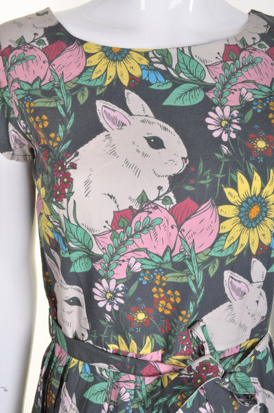 Floral Rabbit Print Dress by Run and Fly - Minimum Mouse