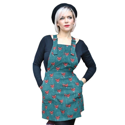 Fox Cord Dungaree Pinafore Dress by Run and Fly - Minimum Mouse