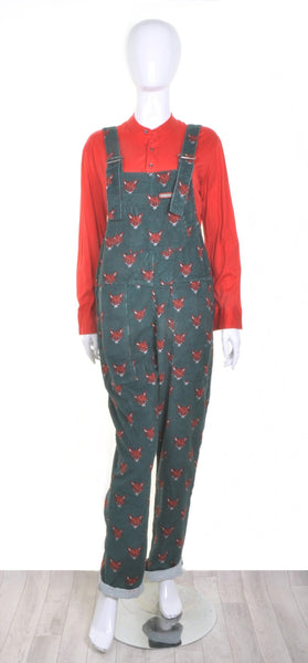 Fox Print Dungarees in Corduroy by Run and Fly - Minimum Mouse